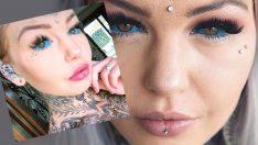 Gözünün içine bile dövme yaptıran kadın, görenleri şoke ediyor!
