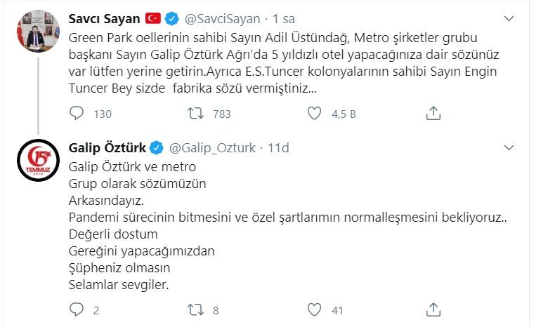 Galip Öztürk'ten Savcı Sayan'a söz