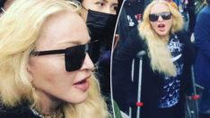 Madonna, koltuk değnekleriyle Floyd eylemine katıldı